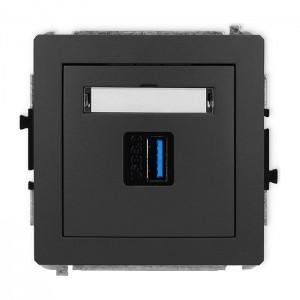 Karlik Deco 28DGUSB-5 - Gniazdo USB pojedyncze typu A-A, wersja 3.0 - Grafitowy Mat - Podgląd zdjęcia producenta
