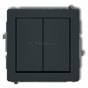 Karlik Deco 28DWP-44.1 - Przycisk zwierny podwójny 10A, wspólne zasilanie, zaciski śrubowe - Grafitowy Mat - Podgląd zdjęcia producenta