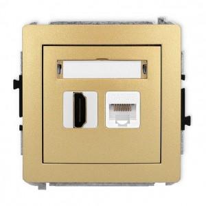 Karlik Deco 29DGHK - Gniazdo HDMI + Gniazdo komputerowe 1x RJ45 kat.5e - Złoty - Podgląd zdjęcia producenta