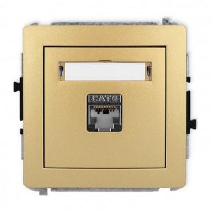 Karlik Deco 29DGK-1e - Gniazdo komputerowe pojedyncze 1x RJ45 kat.5e, ekranowane, 8 stykowe - Złoty - Podgląd zdjęcia producenta