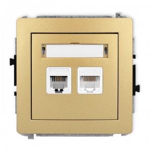 Karlik Deco 29DGTK - Gniazdo telefoniczne 1x RJ11 + Gniazdo komputerowe 1x RJ45 kat.5e - Złoty - Podgląd zdjęcia producenta