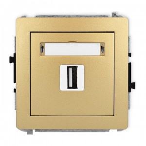 Karlik Deco 29DGUSB-1 - Gniazdo USB pojedyncze typu A-A, wersja 2.0 - Złoty - Podgląd zdjęcia producenta