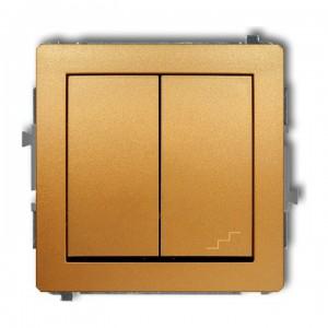 Karlik Deco 29DWP-10.1 - Łącznik pojedynczy z łącznikiem schodowym 10A, wspólne zasilanie, zaciski śrubowe - Złoty - Podgląd zdjęcia producenta
