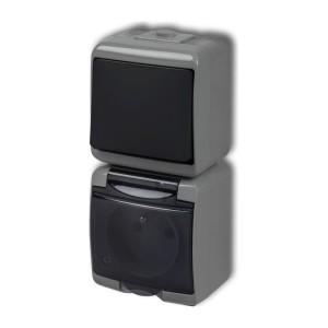 Karlik Junior 30WGHP-1d - Wyłącznik pojedynczy + Gniazdo pojedyncze z uziemieniem, klapka dymna, montaż pionowy - Popielato-Grafitowy - Podgląd zdjęcia producenta
