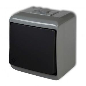 Karlik Junior 30WHE-5L - Przycisk zwierny z piktogramem światła hermetyczny z podświetleniem IP56 - Popielato-Grafitowy - Podgląd zdjęcia producenta
