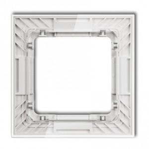 Karlik Deco 52-0-DRS-1 - Ramka pojedyncza DECO Art Efekt Szkła - Podstawa w kolorze Białym - Plexi Przezroczyste - Podgląd zdjęcia producenta