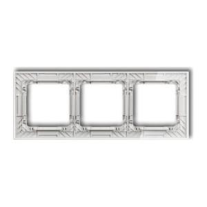 Karlik Deco 52-0-DRS-3 - Ramka potrójna DECO Art Efekt Szkła - Podstawa w kolorze Białym - Plexi Przezroczyste - Podgląd zdjęcia producenta