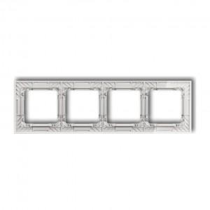 Karlik Deco 52-0-DRS-4 - Ramka czterokrotna DECO Art Efekt Szkła - Podstawa w kolorze Białym - Plexi Przezroczyste - Podgląd zdjęcia producenta