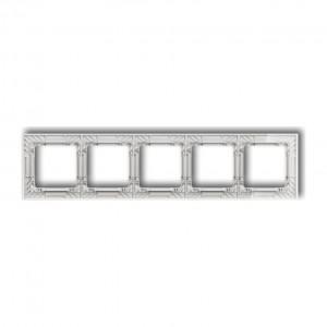 Karlik Deco 52-0-DRS-5 - Ramka pięciokrotna DECO Art Efekt Szkła - Podstawa w kolorze Białym - Plexi Przezroczyste - Podgląd zdjęcia producenta