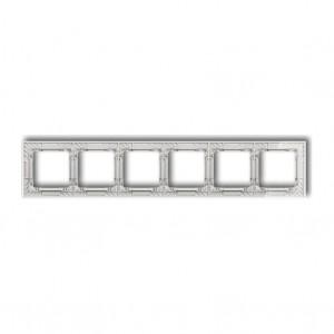 Karlik Deco 52-0-DRS-6 - Ramka sześciokrotna DECO Art Efekt Szkła - Podstawa w kolorze Białym - Plexi Przezroczyste - Podgląd zdjęcia producenta