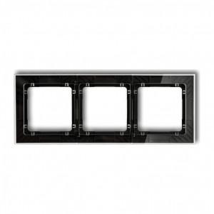 Karlik Deco 52-12-DRS-3 - Ramka potrójna DECO Art Efekt Szkła - Podstawa w kolorze Czarnym - Plexi Przezroczyste - Podgląd zdjęcia producenta