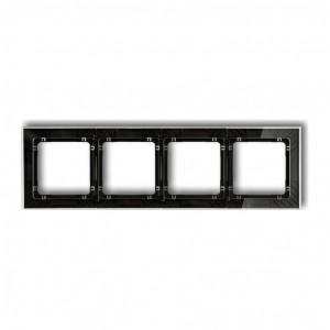 Karlik Deco 52-12-DRS-4 - Ramka czterokrotna DECO Art Efekt Szkła - Podstawa w kolorze Czarnym - Plexi Przezroczyste - Podgląd zdjęcia producenta