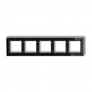 Karlik Deco 52-12-DRS-5 - Ramka pięciokrotna DECO Art Efekt Szkła - Podstawa w kolorze Czarnym - Plexi Przezroczyste - Podgląd zdjęcia producenta