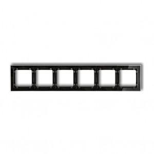 Karlik Deco 52-12-DRS-6 - Ramka sześciokrotna DECO Art Efekt Szkła - Podstawa w kolorze Czarnym - Plexi Przezroczyste - Podgląd zdjęcia producenta