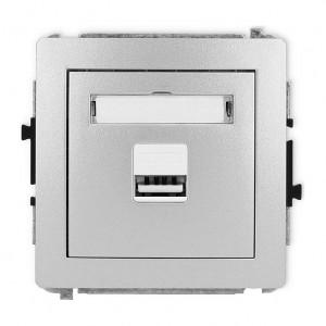 Karlik Deco 7DCUSB-1 - Ładowarka USB, napięcie 5V, prąd 1A - Srebrny Metalik - Podgląd zdjęcia producenta