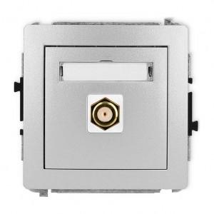 Karlik Deco 7DGF-1.1 - Gniazdo antenowe SAT pojedyncze typu F, gniazdo pozłacane - Srebrny Metalik - Podgląd zdjęcia producenta