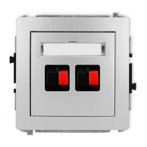Karlik Deco 7DGG-2 - Gniazdo głośnikowe podwójne, przyłącze 2,5mm2 - Srebrny Metalik - Podgląd zdjęcia producenta