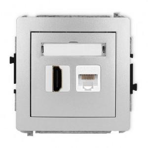 Karlik Deco 7DGHK - Gniazdo HDMI + Gniazdo komputerowe 1x RJ45 kat.5e - Srebrny Metalik - Podgląd zdjęcia producenta