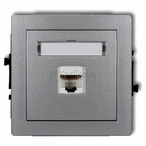 Karlik Deco 7DGK-1 - Gniazdo komputerowe pojedyncze 1x RJ45 kat.5e, 8 stykowe - Srebrny Metalik - Podgląd zdjęcia producenta