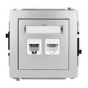 Karlik Deco 7DGTK - Gniazdo telefoniczne 1x RJ11 + Gniazdo komputerowe 1x RJ45 kat.5e - Srebrny Metalik - Podgląd zdjęcia producenta