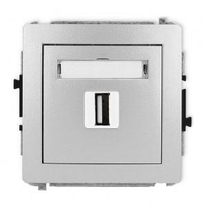 Karlik Deco 7DGUSB-1 - Gniazdo USB pojedyncze typu A-A, wersja 2.0 - Srebrny Metalik - Podgląd zdjęcia producenta