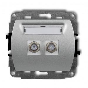 Karlik Trend 7GF-2 - Gniazdo antenowe SAT podwójne typu F, gniazdo niklowane - Srebrny Metalik - Podgląd zdjęcia producenta
