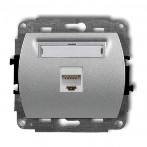 Karlik Trend 7GK-1 - Gniazdo komputerowe pojedyncze 1x RJ45 kat.5e, 8 stykowe - Srebrny Metalik - Podgląd zdjęcia producenta