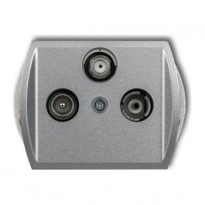Karlik Trend 7GSP - Gniazdo antenowe RTV-SAT przelotowe 10dB, jedno wejście antenowe - Srebrny Metalik - Podgląd zdjęcia producenta