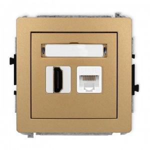 Karlik Deco 8DGHK - Gniazdo HDMI + Gniazdo komputerowe 1x RJ45 kat.5e - Złoty Metalik - Podgląd zdjęcia producenta