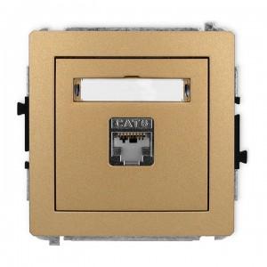 Karlik Deco 8DGK-1e - Gniazdo komputerowe pojedyncze 1x RJ45 kat.5e, ekranowane, 8 stykowe - Złoty Metalik - Podgląd zdjęcia producenta