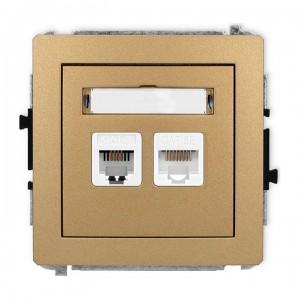 Karlik Deco 8DGTK - Gniazdo telefoniczne 1x RJ11 + Gniazdo komputerowe 1x RJ45 kat.5e - Złoty Metalik - Podgląd zdjęcia producenta