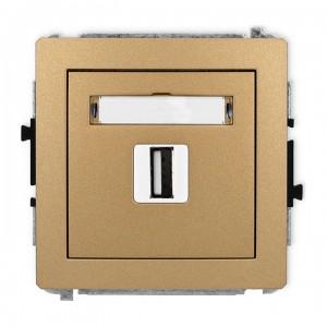 Karlik Deco 8DGUSB-1 - Gniazdo USB pojedyncze typu A-A, wersja 2.0 - Złoty Metalik - Podgląd zdjęcia producenta