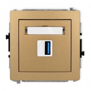 Karlik Deco 8DGUSB-5 - Gniazdo USB pojedyncze typu A-A, wersja 3.0 - Złoty Metalik - Podgląd zdjęcia producenta