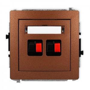 Karlik Deco 9DGG-2 - Gniazdo głośnikowe podwójne, przyłącze 2,5mm2 - Brązowy Metalik - Podgląd zdjęcia producenta