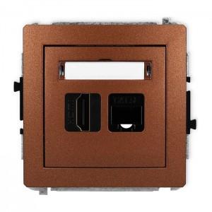 Karlik Deco 9DGHK - Gniazdo HDMI + Gniazdo komputerowe 1x RJ45 kat.5e - Brązowy Metalik - Podgląd zdjęcia producenta