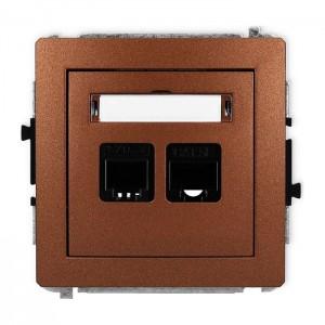 Karlik Deco 9DGTK - Gniazdo telefoniczne 1x RJ11 + Gniazdo komputerowe 1x RJ45 kat.5e - Brązowy Metalik - Podgląd zdjęcia producenta