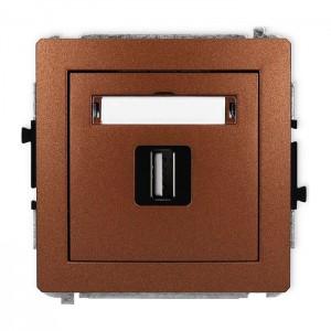 Karlik Deco 9DGUSB-1 - Gniazdo USB pojedyncze typu A-A, wersja 2.0 - Brązowy Metalik - Podgląd zdjęcia producenta