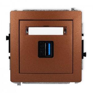 Karlik Deco 9DGUSB-5 - Gniazdo USB pojedyncze typu A-A, wersja 3.0 - Brązowy Metalik - Podgląd zdjęcia producenta