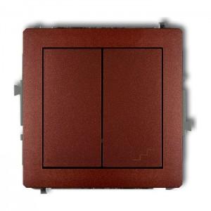 Karlik Deco 9DWP-10.1 - Łącznik pojedynczy z łącznikiem schodowym 10A, wspólne zasilanie, zaciski śrubowe - Brązowy Metalik - Podgląd zdjęcia producenta