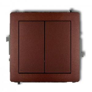 Karlik Deco 9DWP-44.1 - Przycisk zwierny podwójny 10A, wspólne zasilanie, zaciski śrubowe - Brązowy Metalik - Podgląd zdjęcia producenta
