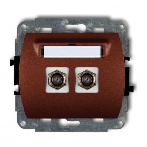 Karlik Trend 9GF-2 - Gniazdo antenowe SAT podwójne typu F, gniazdo niklowane - Brązowy Metalik - Podgląd zdjęcia producenta