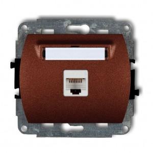 Karlik Trend 9GK-1 - Gniazdo komputerowe pojedyncze 1x RJ45 kat.5e, 8 stykowe - Brązowy Metalik - Podgląd zdjęcia producenta