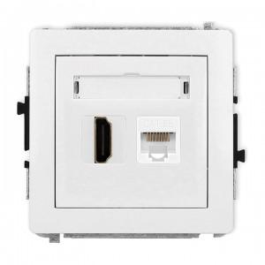 Karlik Deco DGHK - Gniazdo HDMI + Gniazdo komputerowe 1x RJ45 kat.5e - Biały - Podgląd zdjęcia producenta