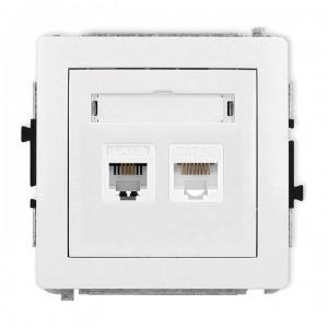 Karlik Deco DGTK - Gniazdo telefoniczne 1x RJ11 + Gniazdo komputerowe 1x RJ45 kat.5e - Biały - Podgląd zdjęcia producenta