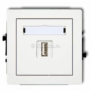 Karlik Deco DGUSB-1 - Gniazdo USB pojedyncze typu A-A, wersja 2.0 - Biały - Podgląd zdjęcia producenta