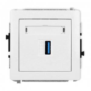 Karlik Deco DGUSB-5 - Gniazdo USB pojedyncze typu A-A, wersja 3.0 - Biały - Podgląd zdjęcia producenta