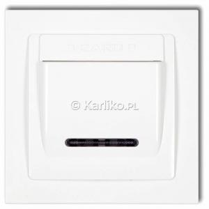 Karlik Deco DSH-1 - Łącznik hotelowy z podświetleniem LED 16A, produkt z ramką - Biały - Podgląd zdjęcia producenta
