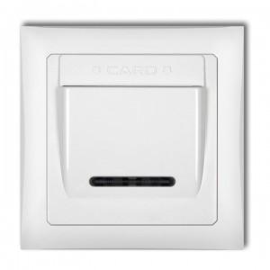 Karlik Deco DSHSO-1 - Łącznik hotelowy z podświetleniem LED 16A, produkt z ramką Deco Soft - Biały - Podgląd zdjęcia producenta