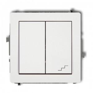 Karlik Deco DWP-10.1 - Łącznik pojedynczy z łącznikiem schodowym 10A, wspólne zasilanie, zaciski śrubowe - Biały - Podgląd zdjęcia producenta