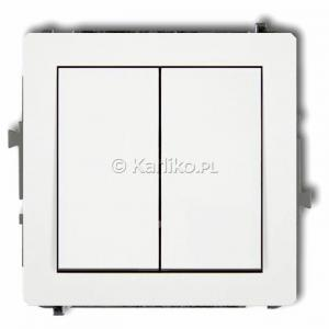 Karlik Deco DWP-44.1 - Przycisk zwierny podwójny 10A, wspólne zasilanie, zaciski śrubowe - Biały - Podgląd zdjęcia producenta